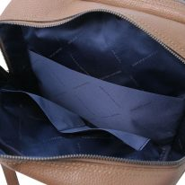 イタリア製シボ型押しソフトレザーのスーツケースに取り付けられるリュックTL BAG、ダークトープ、詳細5