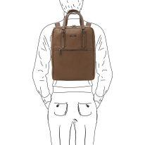 イタリア製シボ型押しソフトレザーのスーツケースに取り付けられるリュックTL BAG、ダークトープ、詳細6
