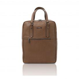 イタリア製シボ型押しソフトレザーのスーツケースに取り付けられるリュックTL BAG、ダークトープ