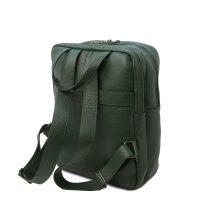 イタリア製シボ型押しソフトレザーのスーツケースに取り付けられるリュックTL BAG、フォレストグリーン、詳細2