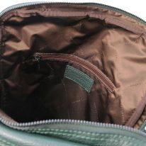 イタリア製シボ型押しソフトレザーのスーツケースに取り付けられるリュックTL BAG、フォレストグリーン、詳細3