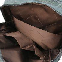 イタリア製シボ型押しソフトレザーのスーツケースに取り付けられるリュックTL BAG、フォレストグリーン、詳細4