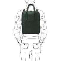 イタリア製シボ型押しソフトレザーのスーツケースに取り付けられるリュックTL BAG、フォレストグリーン、詳細6