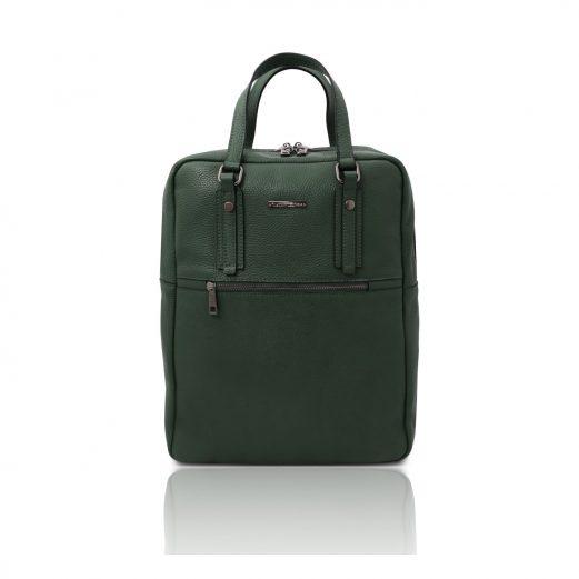 イタリア製シボ型押しソフトレザーのスーツケースに取り付けられるリュックTL BAG、フォレストグリーン
