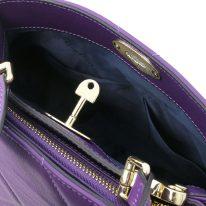 イタリア製フルグレインレザー2WAYキルティング・ハンドバッグ TL BAG、パープル、詳細5