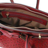 イタリア製オーストリッチ風型押しレザーの2WAYハンドバッグ TL BAG、レッド、詳細4