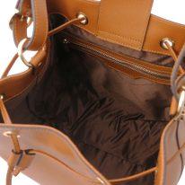 イタリア製パルメラートレザー2WAY巾着バッグ MINERVA-2、コニャック、詳細4