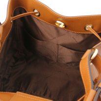 イタリア製パルメラートレザー2WAY巾着バッグ MINERVA-2、コニャック、詳細5