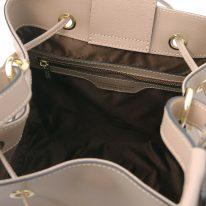 イタリア製パルメラートレザー2WAY巾着バッグ MINERVA-2、トープ、詳細4