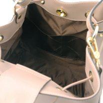 イタリア製パルメラートレザー2WAY巾着バッグ MINERVA-2、トープ、詳細5