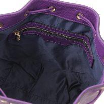 イタリア製シボ型押しレザー2WAY巾着バッグ TL BAG-2、パープル、詳細3