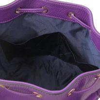 イタリア製シボ型押しレザー2WAY巾着バッグ TL BAG-2、パープル、詳細4