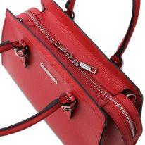 イタリア製シボ型押しレザーの2WAYハンドバッグ TL BAG、ルージュ、詳細4