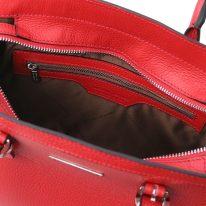 イタリア製シボ型押しレザーの2WAYハンドバッグ TL BAG、ルージュ、詳細5