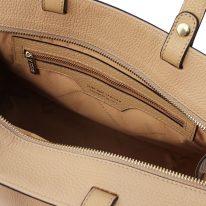 イタリア製シボ型押しレザーの2WAYハンドバッグ TL BAG、シャンパーニュ、詳細4