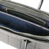 イタリア製フルグレインレザー2WAYキルティング・トートバッグ TL BAG、グレイ、詳細4