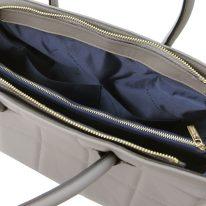 イタリア製フルグレインレザー2WAYキルティング・トートバッグ TL BAG、グレイ、詳細5