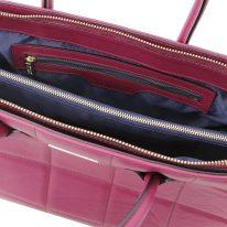 イタリア製フルグレインレザー2WAYキルティング・トートバッグ TL BAG、プラム、詳細4