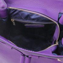 イタリア製シボ型押しレザー2WAYゴールドチェーン巾着バッグ TL BAG、パープル、詳細4