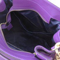 イタリア製シボ型押しレザー2WAYゴールドチェーン巾着バッグ TL BAG、パープル、詳細5