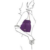 イタリア製シボ型押しレザー2WAYゴールドチェーン巾着バッグ TL BAG、パープル、詳細7