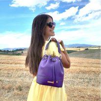 イタリア製シボ型押しレザー2WAY巾着バッグ TL BAG-2、使用イメージ4