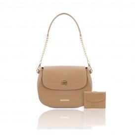 シボ型押しレザー2本ストラップのバッグ FRESIA&財布2点セット LIPARI、シャンパーニュ