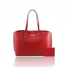 イタリア製シボ型押しレザートートバッグTL BAG&財布2点セット PANTELLERIA、ルージュ