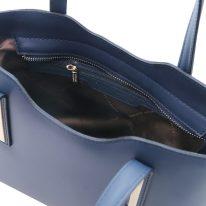 イタリア製スムースレザー2WAYトートバッグSサイズ OLIMPIA、ダークブルー、詳細3