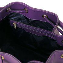 イタリア製スムースレザー2WAY巾着バッグ VITTORIA、パープル、詳細3