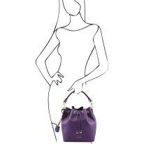 イタリア製スムースレザー2WAY巾着バッグ VITTORIA、パープル、詳細5