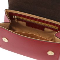 イタリア製パルメラートレザーのゴールドチェーンストラップ付ハンドバッグ TL BAG-Sサイズ、レッド、詳細4