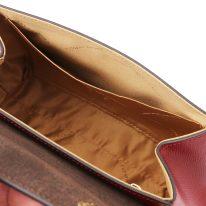 イタリア製パルメラートレザーのゴールドチェーンストラップ付ハンドバッグ TL BAG-Sサイズ、レッド、詳細5