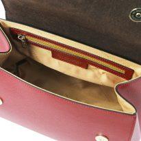 イタリア製パルメラートレザーのゴールドチェーンストラップ付ハンドバッグ TL BAG-Lサイズ、レッド、詳細4