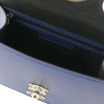 イタリア製パルメラートレザーのゴールドチェーンストラップ付2WAYハンドバッグ TL BAG、ダークブルー、詳細3
