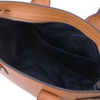 イタリア製パルメラートレザーのトートバッグ CATHERINE、コニャック、詳細5