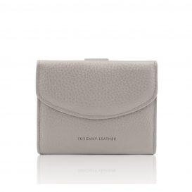 イタリア製シボ型押しレザーの三つ折りミニ財布 CALLIOPE、ライトグレイ